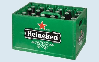 A crate of Heineken beer.