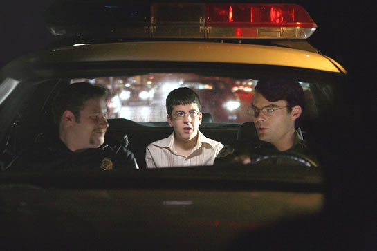 Agents Slater and Michaels with their compadre McLovin from the movie Superbad; if we want any cops to show up at this party it better be these lunatics.