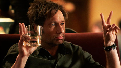 Hank Moody from the TV-show Californication; invited cause he can enjoy a good drink. We are not sure if some of the other guests will understand his literary bullshit.