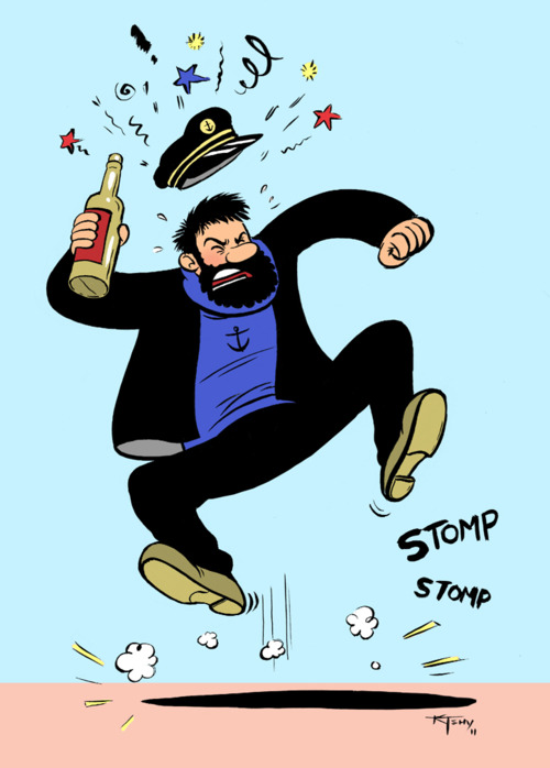 Captain Haddock from the comic book Tintin; known for his alcohol abuse and colorful tirades when he gets mad.