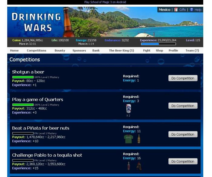 Some assignments in Drinking Wars.
