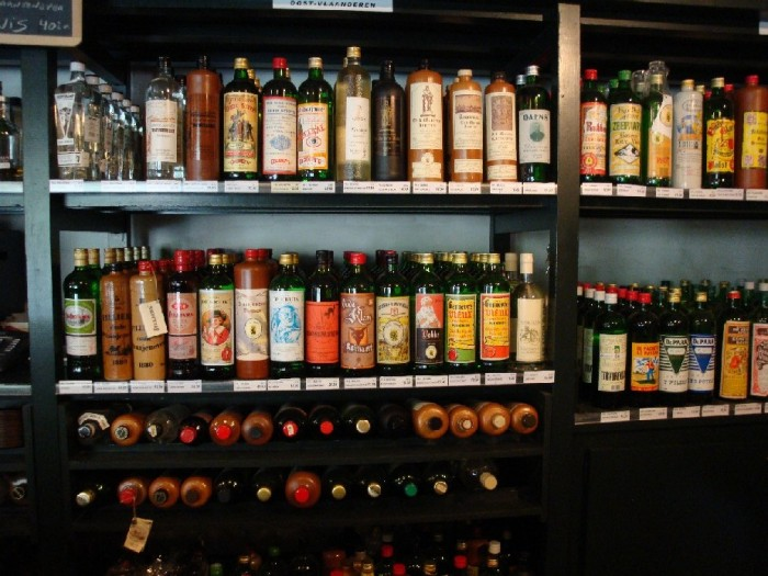 The jenever section in a Dutch liquor store. Traditionally the drink comes in stone jugs.