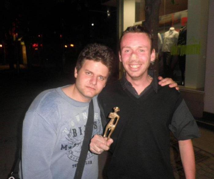 Nikolay and Micky with the alcohol friendly award after last years More Honors show.