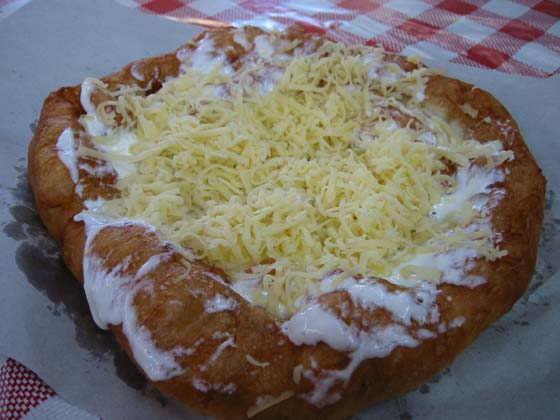 A Hungarian snack to fight your hangover: lángos.