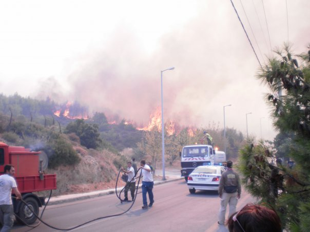 Fires reach Athens' suburb Penteli.