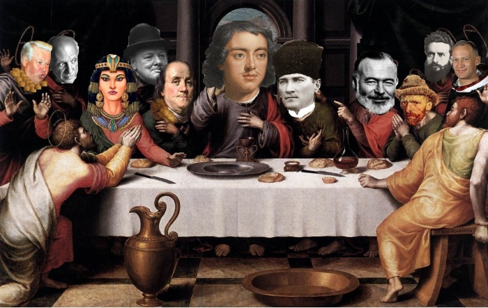 The great drunks of world history: Jeltsin, Picasso, Cleopatra, Churchill, Franklin, Peter the Great, Atatürk, Hemingway, Van Gogh, Botev and Aldrin (from left to right).