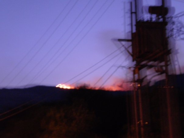 At the break of dawn the first flames came over the hill.