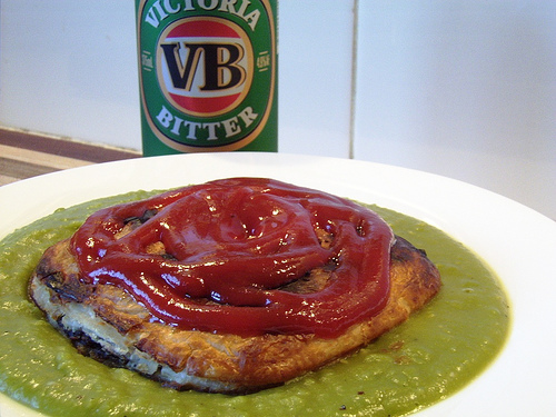 A pie floater, the Australian cure for hangovers.