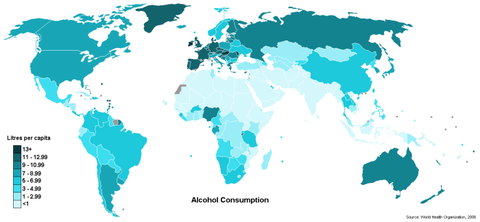 Alcohol consumption in the world according to the World Health Organization.