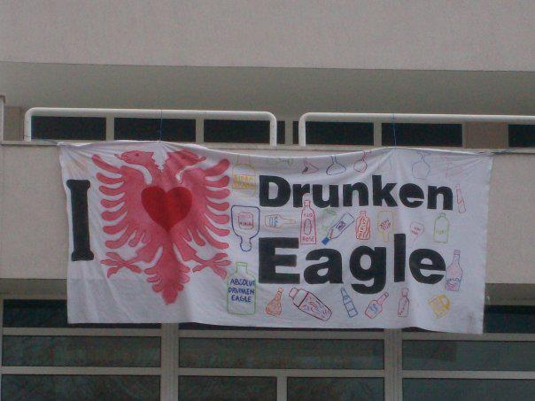 A banner to warn people the Drunken Eagle party is coming.