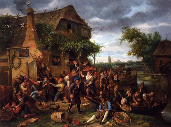 """A Village Revel"", a typical painting by Jan Steen."