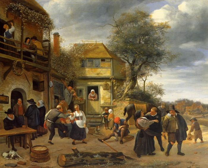 Dancing farmers in front of an inn.