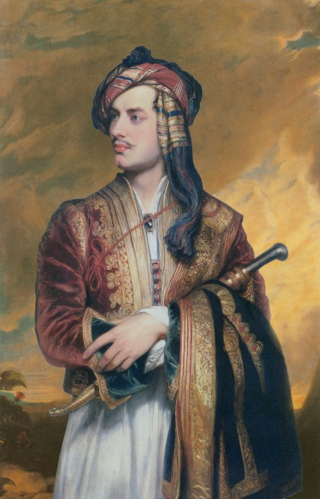 Lord Byron posing in a traditional Albanian outfit.