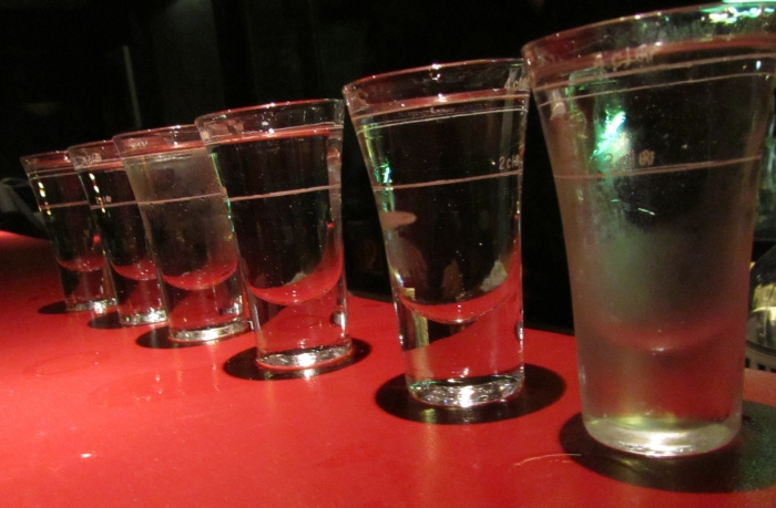 A key element to every good night: shots at the bar.