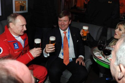 Russian president Putin having a beer with the Dutch King Willem-Alexander in the Holland Heineken House. The same president cut off quite some fans and athletes during the Olympics.