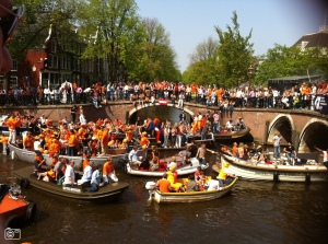 The handrails next to the canals still come in handy. Especially on national holidays like Kingsday.