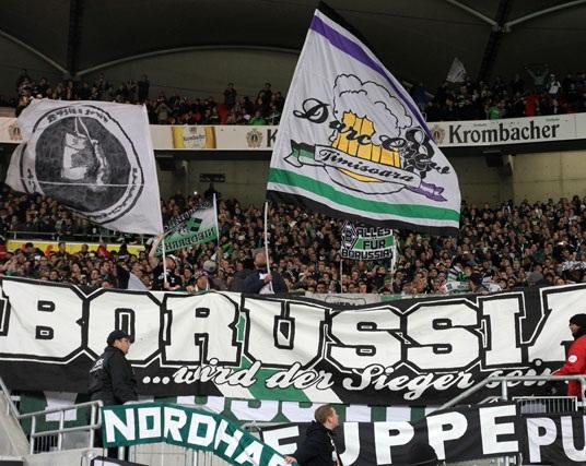 Nice beerflag at Borussia Mönchengladbach (Germany).