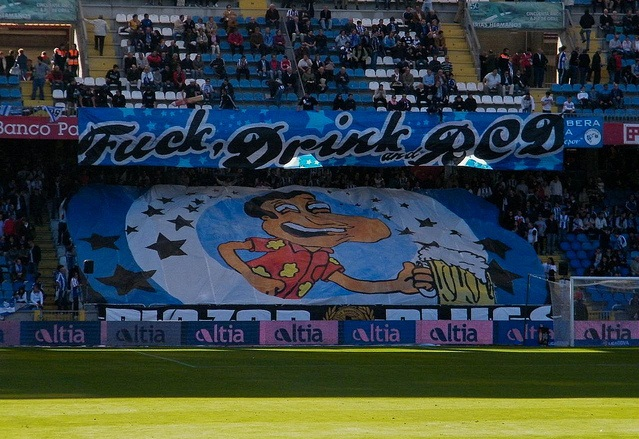 Fans of Deportivo la Coruna (Spain) really outdid themselves with this tifo. The text basically says it all.