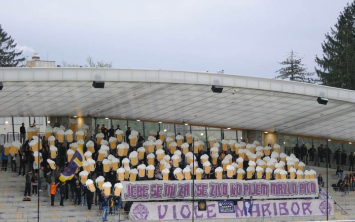 It's not hard to tell what these fans from NK Maribor (Slovenia) want: beer!