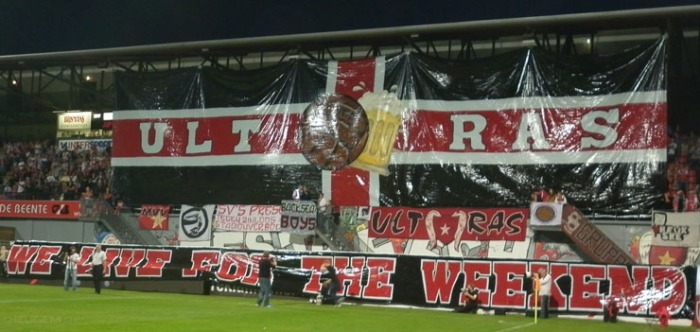 Beautiful beer-tifo by MVV Maastricht from Holland.