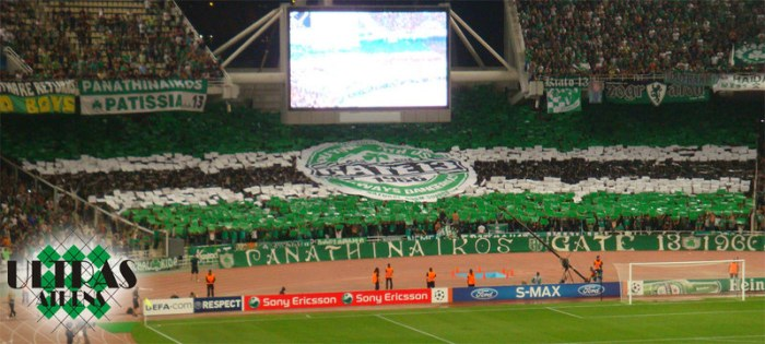 Amazing tifo by Panathinaikos (Greece). They managed to squeeze the name of their fanatic fans Gate 13 into the logo of a famous beer brand.