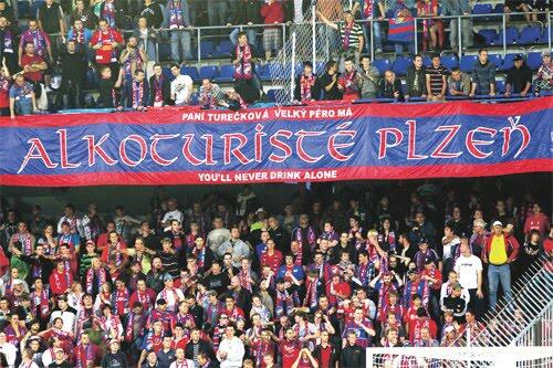 Fans of the Czech club Viktoria Plzen on tour in Turkey label themselves as 'alcoholtourists'.