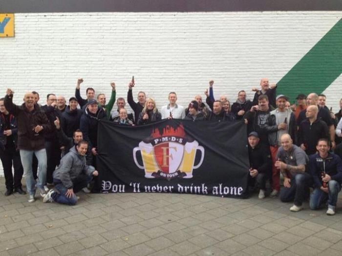 Another banner by Feyenoord Rotterdam. P.M.D.S. stands for Pre Match Drinking Session.