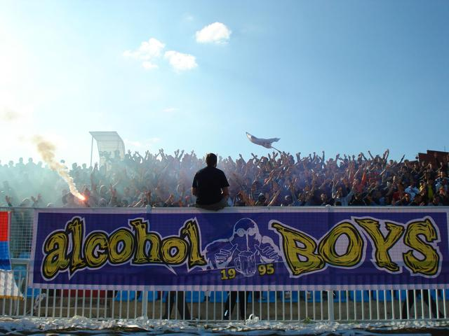 The fanatic fans of the Serbian club Rudar named themselves the Alcohol Boys.