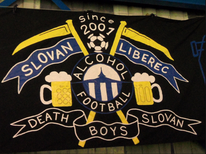 The fans of Czech club Slovan Liberec made this wonderful flag.