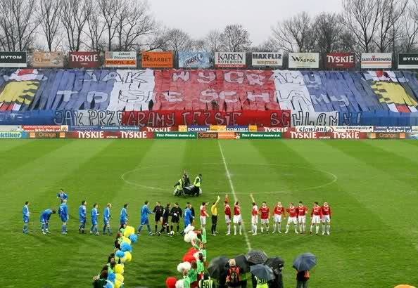 "An epic tifo by Wisla Krakow.  In the Polish it says: ""If we win we drink. If we lose... we drink""."
