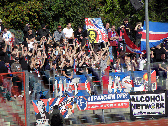 Cool flag by the small German team Wuppertaler SV. The fans are connected to the Alcohol Network.