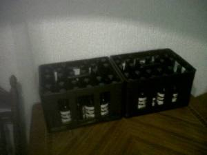 2 crates of homebrew beer. They will be ready for drinking about 2 weeks after the bottling.