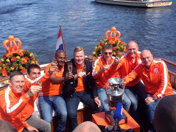 The golden Dutch generation of 1988 raising a glass long before their countrymates face Spain. From left to  right these are Arnold Mühren, Gerald Vanenburg, Aron Winter, Ronald Koeman, Erwin Koeman, Berry van Aerle and Jan Wouters.