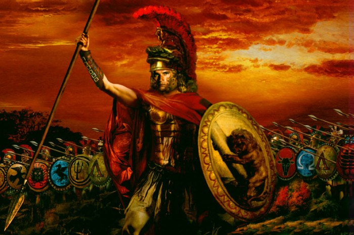A heroic painting of Alexander the Great in battle.