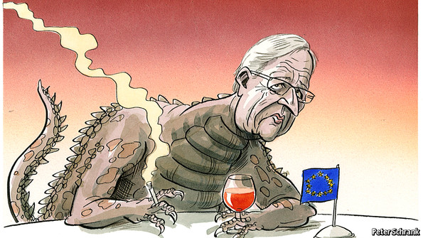 a cartoon of a smoking and drinking Jean-Claude Juncker from The Independent.