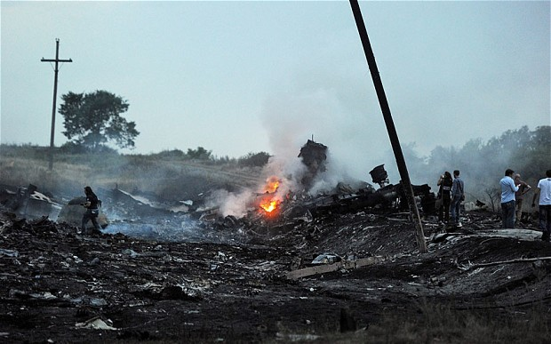 The remains of the Malaysian airplane that was shot over Ukraine.