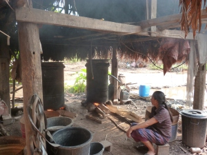 A typical communal still in a village in Laos. Here's where the villagers make their lao lao.