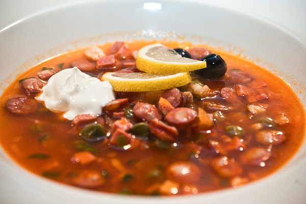 Solyanka, a typical Ukranian soup that is known to cure hangovers.