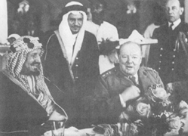 Winston Churchill refuses to eat at the royal banquet of Saudi Arabian king Ibn Saud since no alcohol is served.