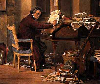 A portrait of Ludwig van Beethoven at work, right before he would normally hit the tavern.