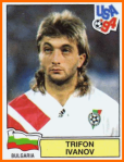Trifon Ivanov posing for the sticker album of the '94 World Cup.