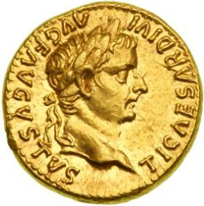 Tiberius portrait on a Roman coin.