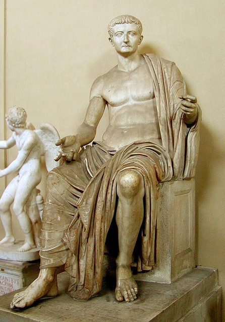 A statue of emperor Tiberius. It was found in the Italian town Priverno and can currently be seen in the Vatican Museum.