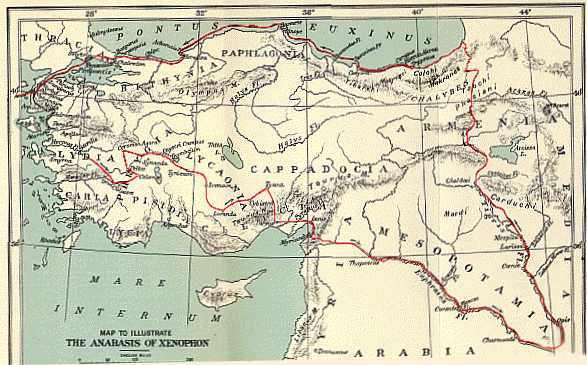 The route of Xenophon's expedition.