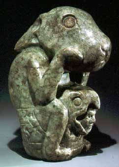 An Aztec statue in the form of one of the Drunken Rabbits.