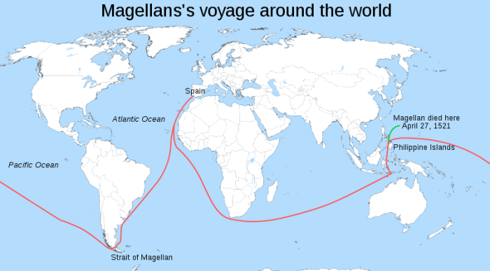 The voyage of Ferdinand Magellan and the ship Victoria after his death.