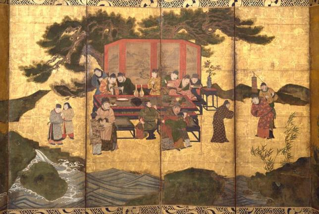 The Eight Immortals of the Wine Cup caught in a painting.