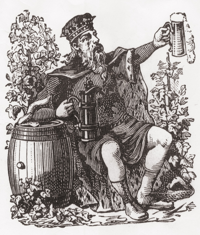 A typical portrait of Gambrinus, the King of Beer.