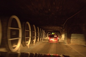 Everyone travels by car through the endless tunnels of Milestii Mici.