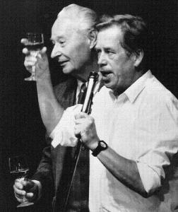 Václav Havel (right) and Alexander Dubcek, leader of the Prague Spring uprising celebrate the resignation of the Czech Communist government in 1989.